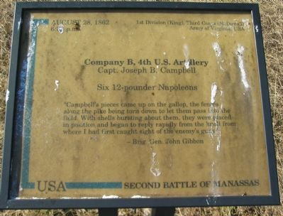 Company B, 4th U.S. Artillery Marker image. Click for full size.