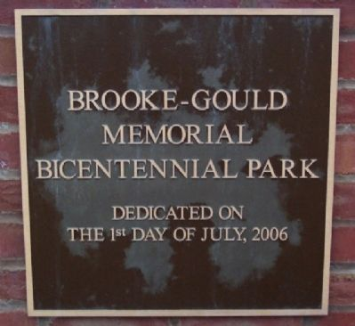 Brooke-Gould Memorial Centennial Park Marker image. Click for full size.