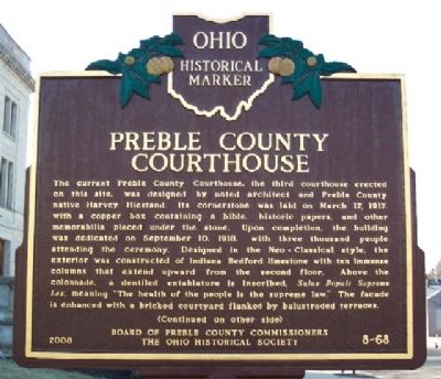 Preble County Courthouse Marker (Side A) image. Click for full size.