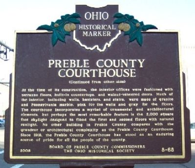 Preble County Courthouse Marker (Side B) image. Click for full size.