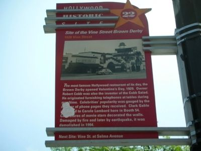 Site of the Vine Street Brown Derby Marker image. Click for full size.