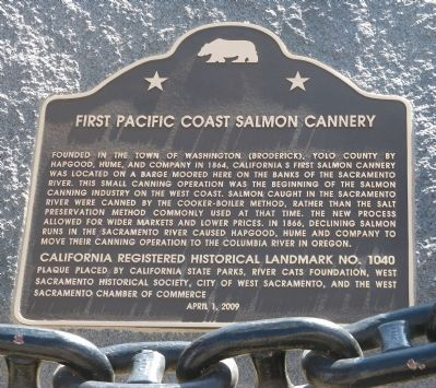 First Pacific Coast Salmon Cannery Marker image. Click for full size.