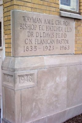 Wayman Chapel African Methodist Episcopal Church Cornerstone image. Click for full size.