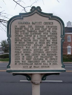 Columbia Baptist Church Marker image. Click for full size.