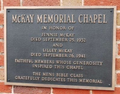 McKay Memorial Chapel Marker image. Click for full size.