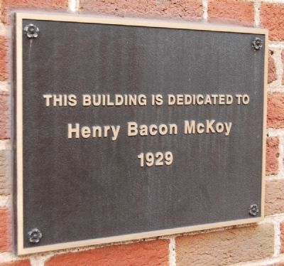 Henry Bacon McKoy Plaque<br>To the Right of the Washington Street Entrance image. Click for full size.