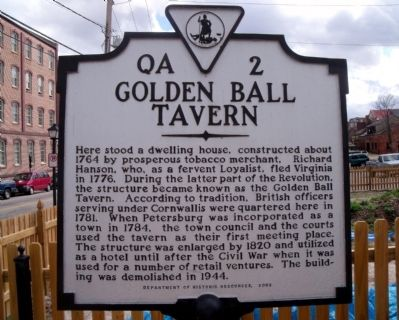 Golden Ball Tavern Marker image. Click for full size.