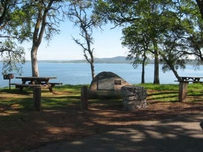 Mormon Island Marker with Folsom Lake in Background Photo, Click for full size