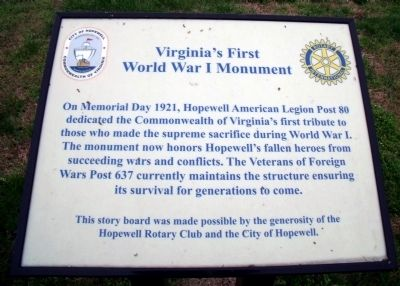 Virginia's First World War I Monument Marker image. Click for full size.