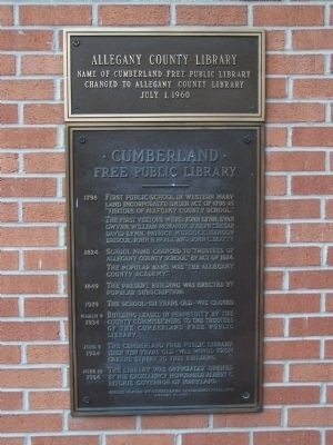 Allegany County Library Marker image. Click for full size.