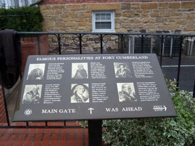Famous Personalities at Fort Cumberland Marker image. Click for full size.
