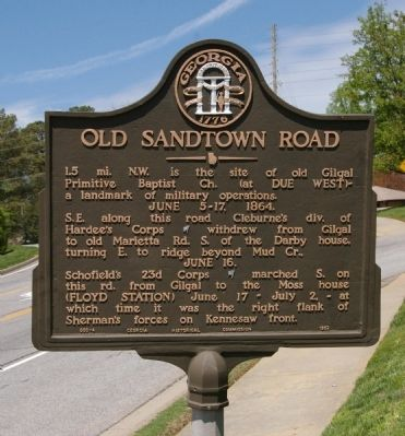 Old Sandtown Road Marker Photo, Click for full size
