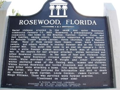Rosewood, Florida Marker Photo, Click for full size