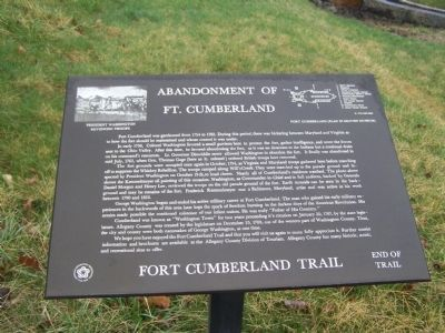 Abandonment of Ft. Cumberland Marker image. Click for full size.