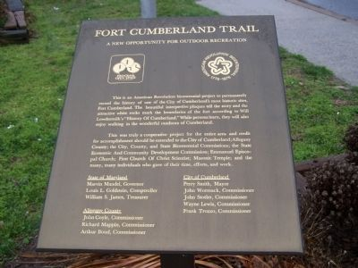 Fort Cumberland Trail Marker image. Click for full size.