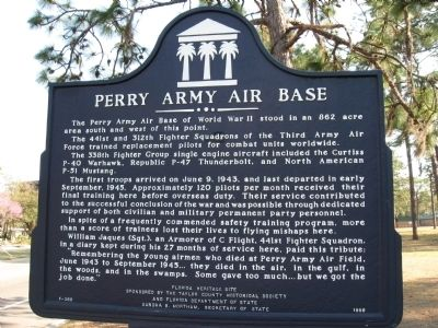 Perry Army Air Base Marker image. Click for full size.