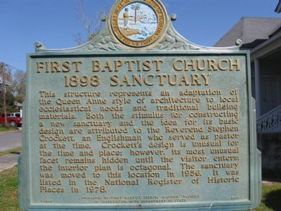 First Baptist Church 1898 Sanctuary Marker image. Click for full size.