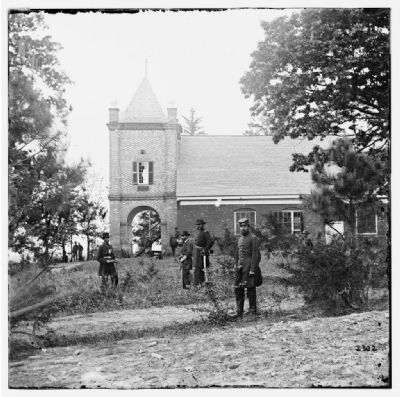 White House Landing, Va., vicinity. St. Peter's Church, with Federal soldiers. Photo, Click for full size
