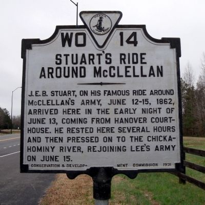 Stuart's Ride Around McClellan Marker Photo, Click for full size