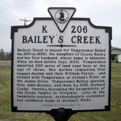 Bailey's Creek Marker image. Click for full size.