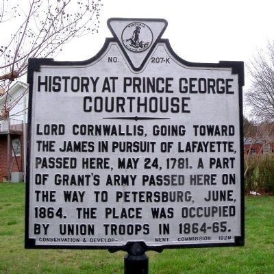 History at Prince George Courthouse Marker image. Click for full size.