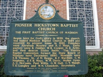 Pioneer Hickstown Baptist Church Marker image. Click for full size.