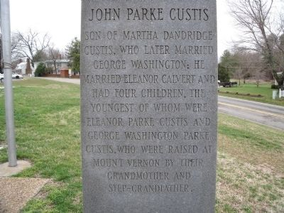 John Parke Custis Marker (east face). Photo, Click for full size