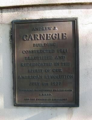 Carnegie Library Rededication Plaque image. Click for full size.