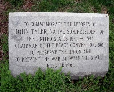 John Tyler marker near the Clerk's Office. Photo, Click for full size