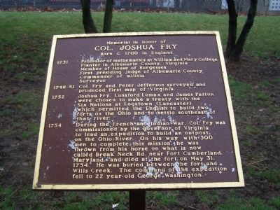 Col. Joshua Fry Marker image. Click for full size.