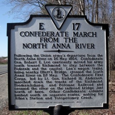 Confederate March From the North Anna River Marker image. Click for full size.