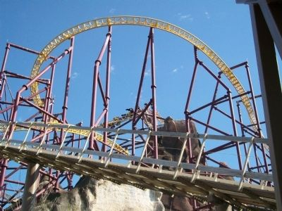 Riders blast out of the top of the Volcano Photo, Click for full size
