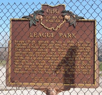 League Park Marker Photo, Click for full size