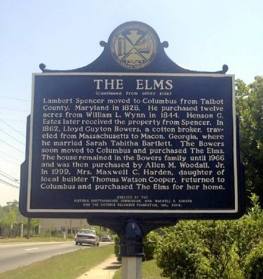 Reverse Side of The Elms Marker image. Click for full size.