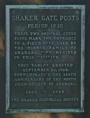 Shaker Gate Posts Marker image. Click for full size.