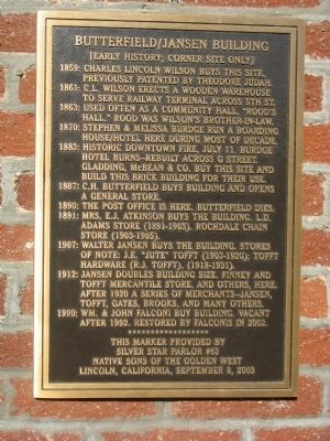 Butterfield/Jansen Building Marker Photo, Click for full size