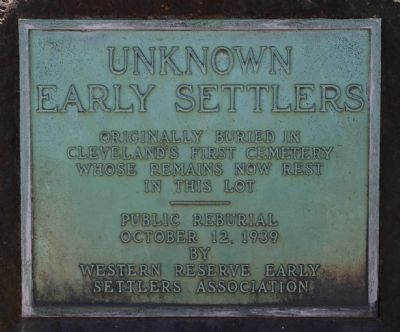 Unknown Early Settlers Marker Photo, Click for full size
