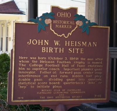 John W. Heisman Birth Site Marker image. Click for full size.