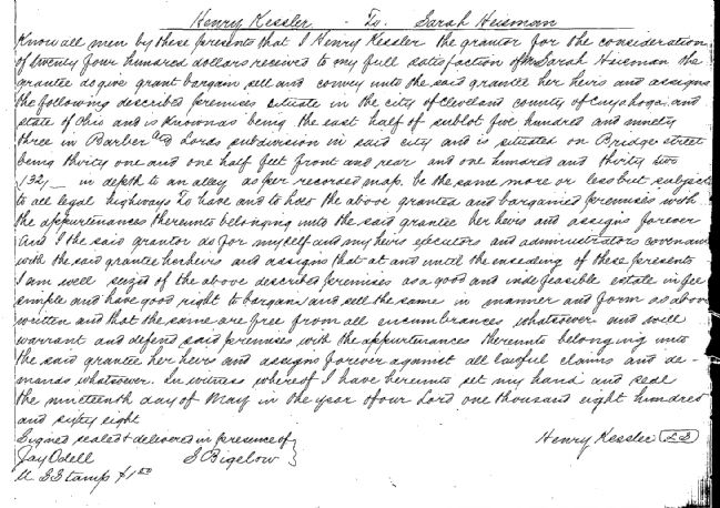 Deed transfering property from Henry Kessler to Sarah Heisman image. Click for full size.