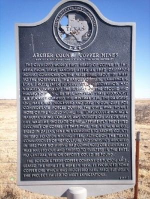 Archer County Copper Mines Marker image. Click for full size.