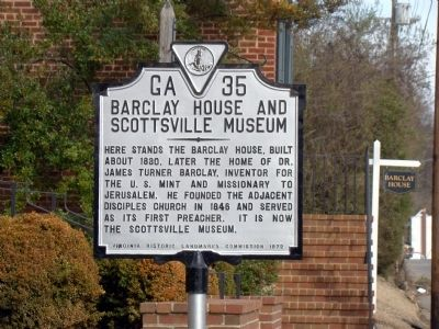 Barclay House and Scottsville Museum Marker image. Click for full size.