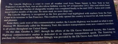 Close Up of Text on The Lincoln Highway Marker Photo, Click for full size