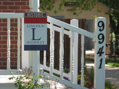 The Lincoln Highway Sign at the Elk Grove Hotel and Stage Stop Museum Photo, Click for full size