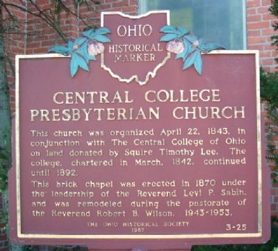 Central College Presbyterian Church Marker Photo, Click for full size