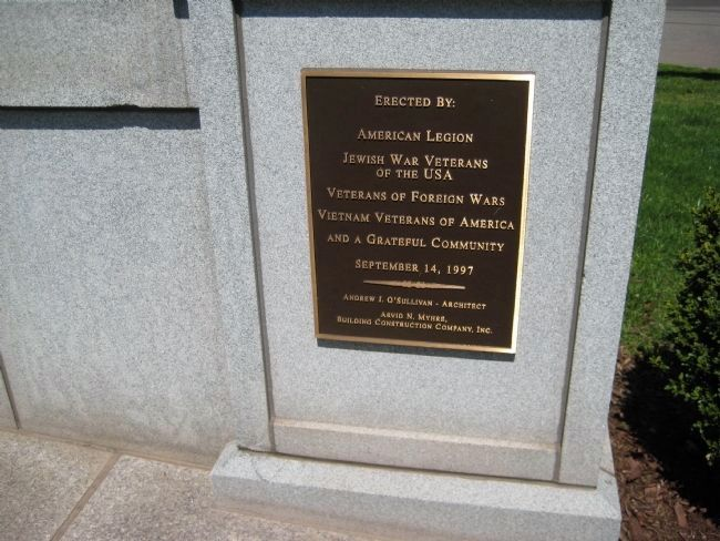 Soldiers Monument - Dedication Plaque Photo, Click for full size