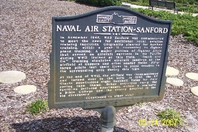 Naval Air Station - Sanford Marker (Obverse) Photo, Click for full size