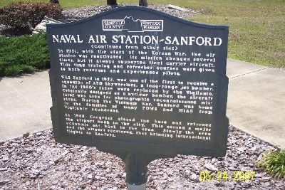 Naval Air Station - Sanford Marker (Reverse) Photo, Click for full size