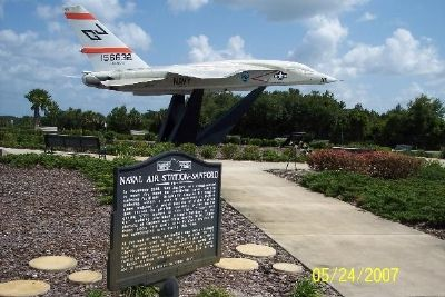 Marker with North American A-5 Vigilante in background. image. Click for full size.
