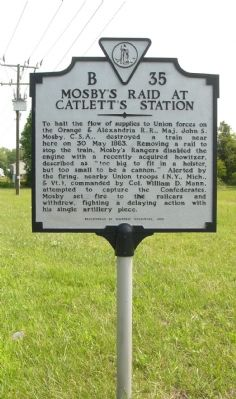Mosby's Raid at Catlett's Station Marker image. Click for full size.