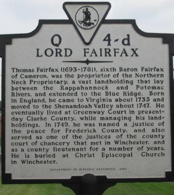 Lord Fairfax Marker image. Click for full size.